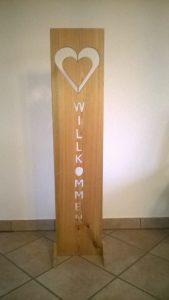 Willkommen Deko aus Holz